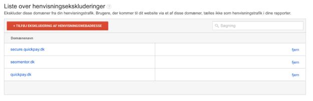 Cross Domain Tracking - Domæner henvisningsekskluderinger