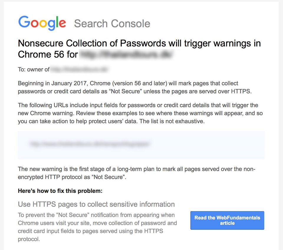 Not Secure warning - ikke sikker advarsel