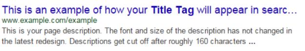 Side titel eksempel fra Google