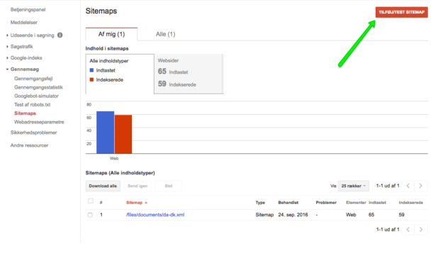 Upload af hreflang XML sitemap i Search Console