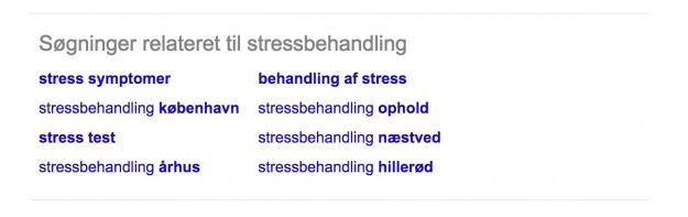 Stressbehandling relaterede søgninger