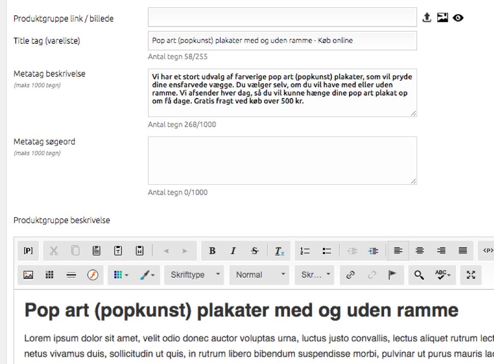 Titel og metabeskrivelse i DanDomain