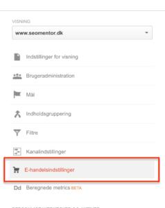 Visning E-handelsindstillinger