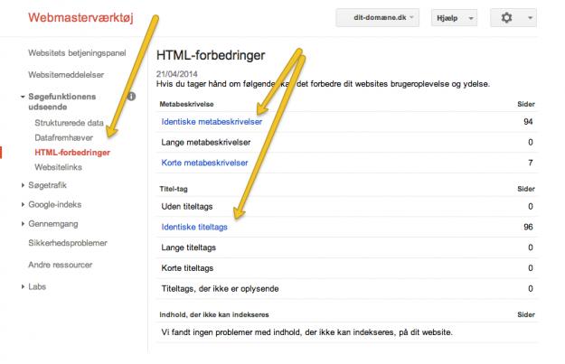 Google Webmaster Tools - sidetitler og meta-beskrivelser